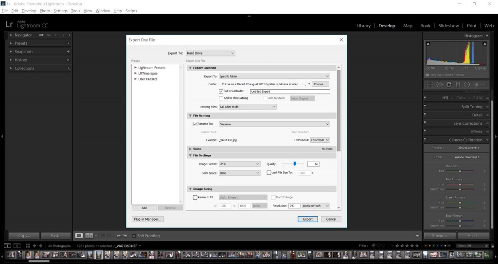 Lightroom Export fotografii