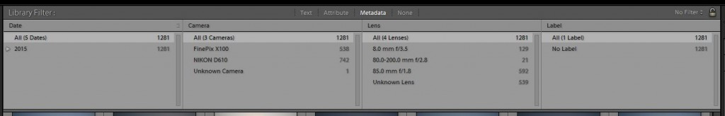 Lightroom Library panoul central Metadata